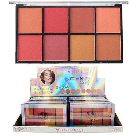 Paleta de Blush Candy 8 Tons Bella Femme BF10057 - Display C/ 12 Unid