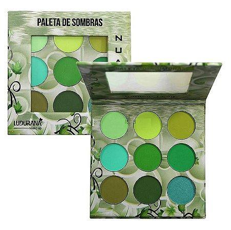 Paleta de Sombras 9 Cores Ludurana Nuance Verde B00008 - Display C/ 12 Unid