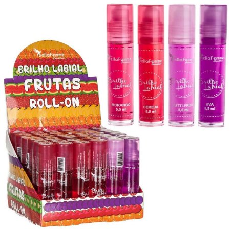 Brilho Labial Rolon Frutas Bella Femme BF10013 ( 36 Unidades )