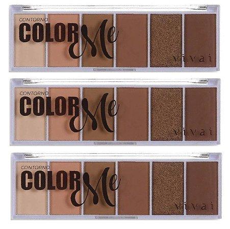 Paleta de Contorno Facial em Pó Color Me Vivai 4033 - Kit C/ 3 Unid