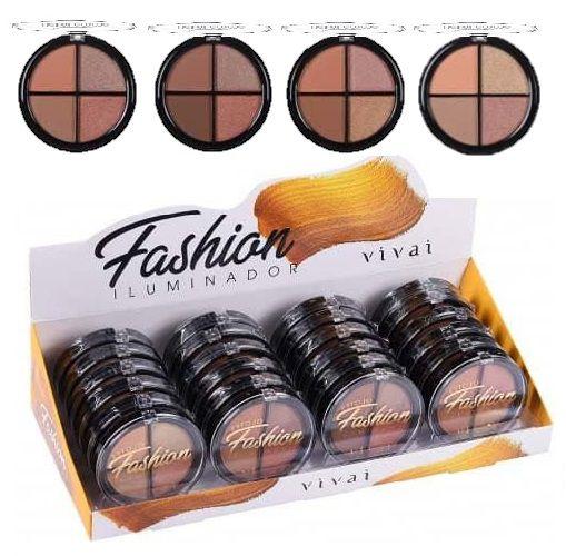 Estojo Quarteto Iluminador Facial Fashion Vivai 4036 - Display C/ 24 Unid