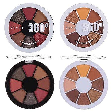 Paleta de Sombras Matte e Metalica 360 Vivai 4040 - Kit C/ 4 Unid