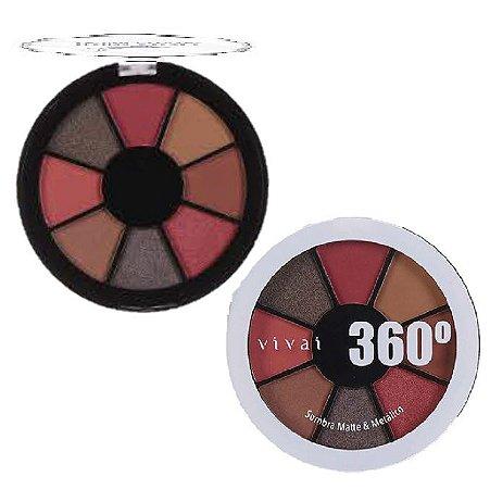 Paleta de Sombras Matte e Metalica 360 Vivai 4040 - Cor 1