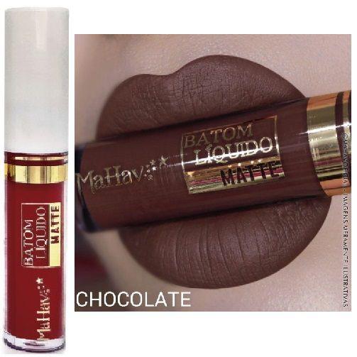 Batom Liquido Matte Mahav Chocolate - Kit C/ 12 Unid