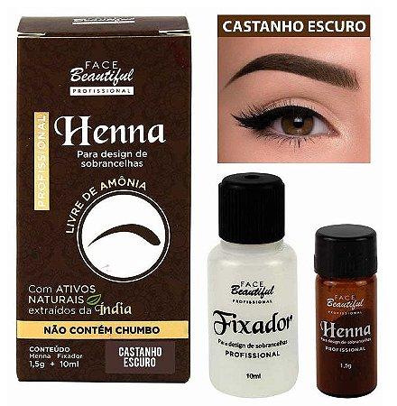 Henna para Sobrancelhas da Face Beautiful Castanho Escuro - FB156