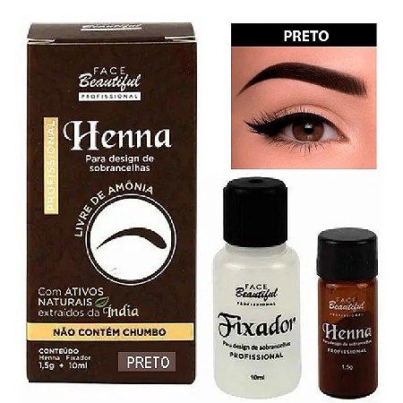 Henna para Sobrancelhas da Face Beautiful Preto - FB158