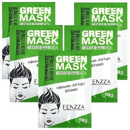 Máscara Facial Anti Rugas Pepino Green Mask Sachê 10g Fenzza FZ38001 - Kit C/ 5 Unid