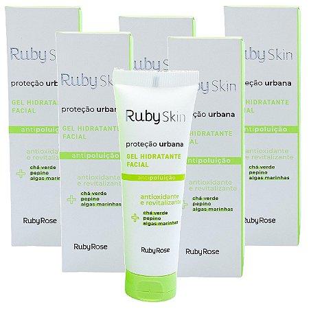 Ruby Rose - Gel hidratante facial antioxidante e revitalizante antipoluição Proteção Urbana HB406 - Kit C/ 6 Unid