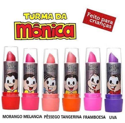 Batom Bastão Infantil Meu Batom Turma da Mônica ( Hipoalergenico ) - Kit C/ 6 Unid