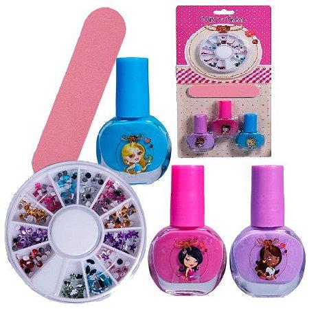 Kit Infantil para Unhas ( 3 Esmaltes, Lixa e Enfeites ) Discoteen HB94737