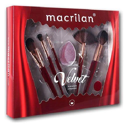 Kit de Pincéis e Esponja Velvet Vermelho Macrilan ED010B