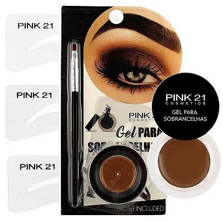 Kit Gel para Sobrancelhas com Pincel e Moldes Pink 21 CS2156 - Caixa com 12 unidades