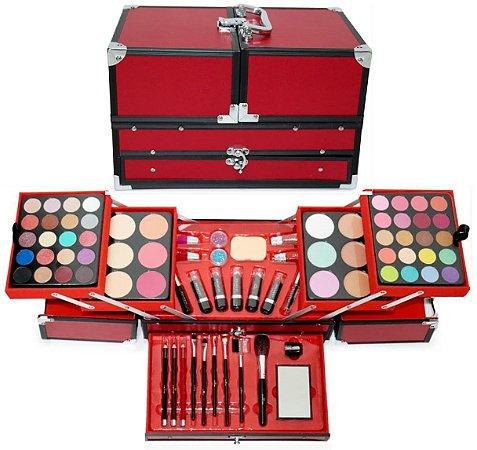 Maleta de Maquiagem Completa Jasmyne JS06059 - Vermelha