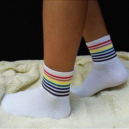 Meia Rainbow Branca