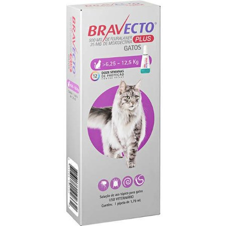 Bravecto Plus Antipulgas Transdermal para Gatos de 6,25kg a 12,5kg