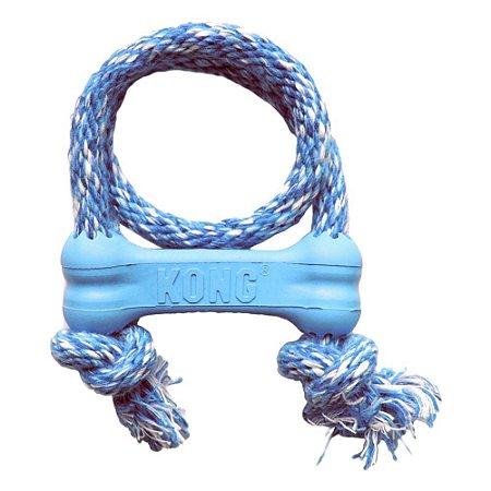Brinquedo Kong Puppy Goodie Osso com Corda Azul para Cães Filhotes