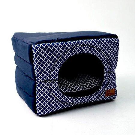 Cama Cabana Flex para Cachorros    Gatos Arabesco Marinho