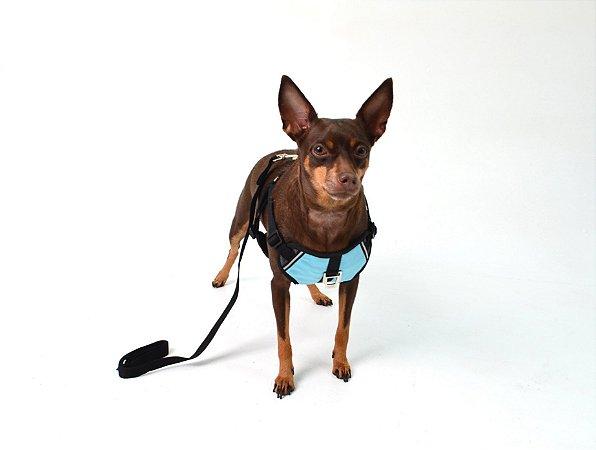 Peitoral com Guia para Cachorro Pochete Azul