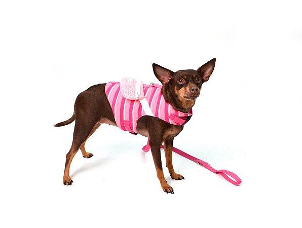Peitoral com Guia para Cachorro Pochete Rosa