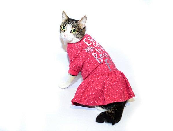 Vestido para Gatos Best Friend Vermelho