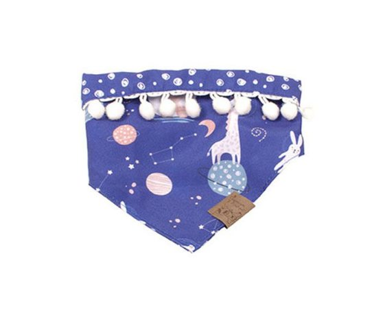 Bandana Dupla Face para Cachorros | Gatos Space Animal Azul