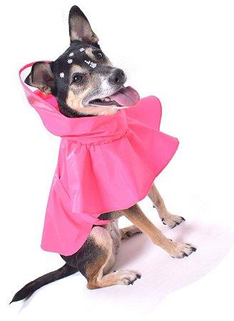 Capa de Chuva para Cachorros Cristal Glitter Rosa