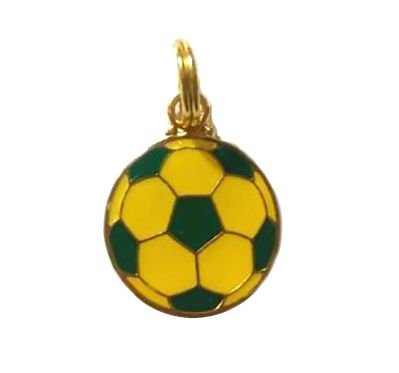 Pingente p/ Coleira Cachorro Bola de Futebol Verde Amarelo Woof