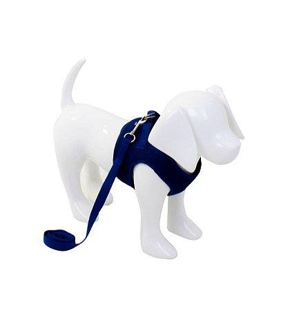 Peitoral com Guia Aerado para Cachorro Azul