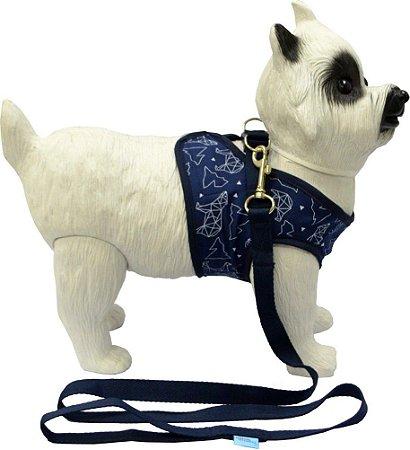 Peitoral com Guia para Cachorro Ice Azul