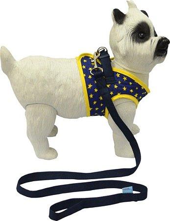 Peitoral com Guia para Cachorro Star Marinho