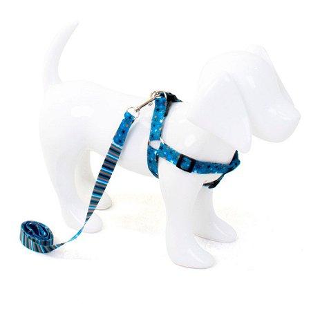 Conjunto Peitoral e Guia para Cachorro Estrela Azul