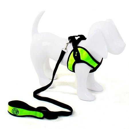 Peitoral com Guia para Cachorro Flex Verde-Limão
