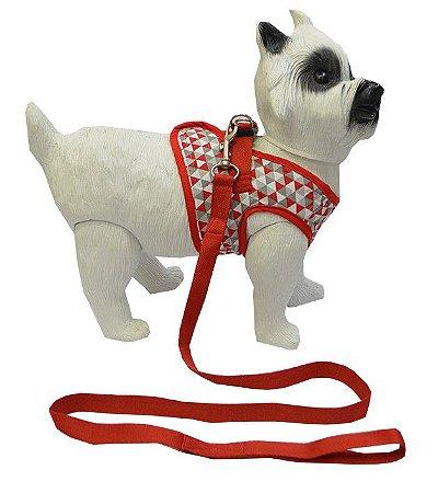 Peitoral com Guia para Cachorro Triângulos Vermelho