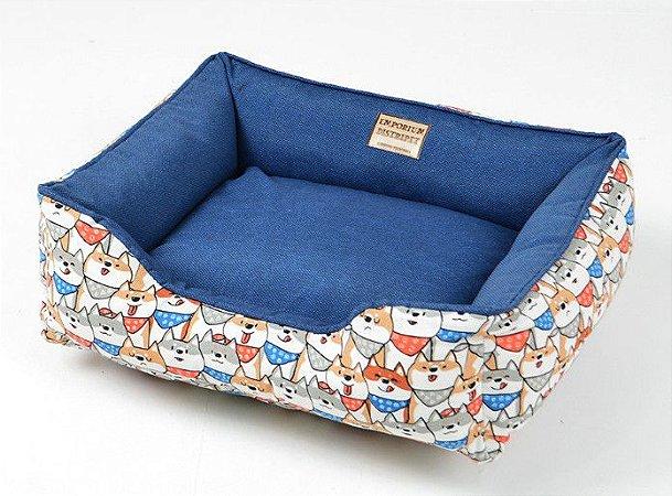 Cama Impermeável para Cachorros Doguinhos Azul