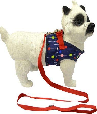 Peitoral com Guia para Cachorro Up Azul