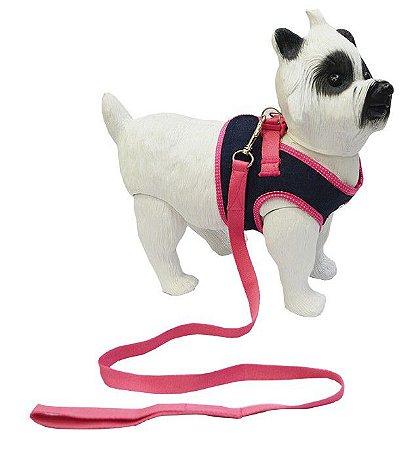 Peitoral com Guia para Cachorro Jeans Astral Rosa