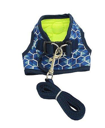 Peitoral com Guia para Cachorro Geométrica Azul