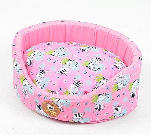 Cama Oval para Cachorros Zebra Rosa
