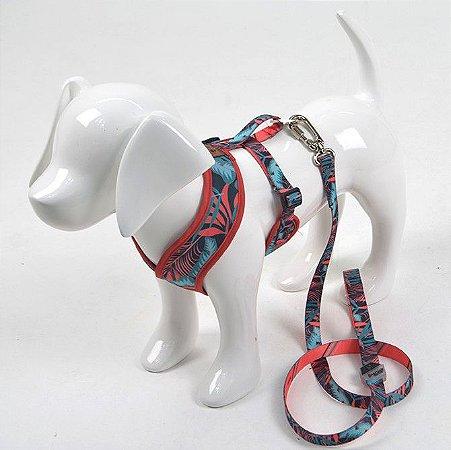 Peitoral X com Guia para Cachorro Tropical