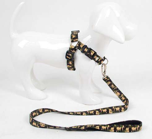 Peitoral Anti-Puxão para Cachorro com Guia Militar