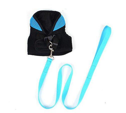 Peitoral com Guia para Cachorro Bicolor Azul