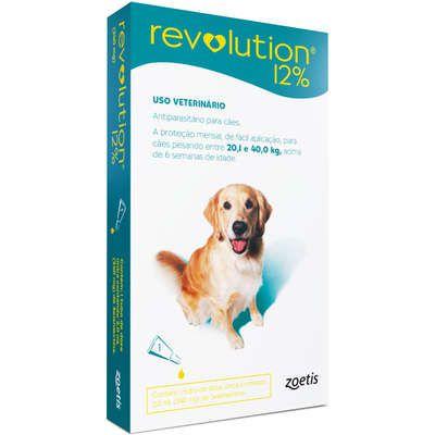 Antipulgas Revolution 12% 240 mg/2 ml para Cães 20,1kg a 40kg