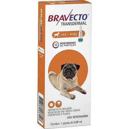 Bravecto Antipulgas e Carrapatos Transdermal para Cães de 4,5 até 10 kg