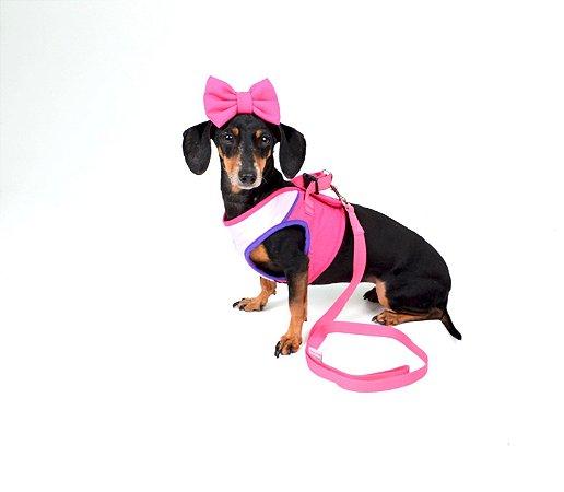 Peitoral com Guia para Cachorro Confot Rosa
