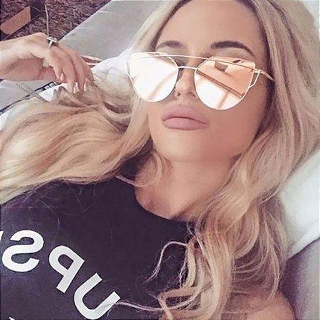 Lindo Óculos de Sol Olho de Gato Policarbonato Feminino UV400 Importado 6e80ac0379
