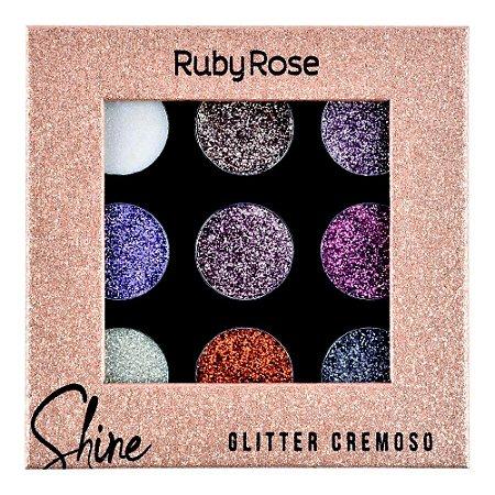 Paleta De Sombra Shine Glitter Light - Ruby Rose HB8407G