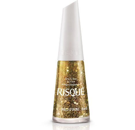 Esmalte Risque Efeito Glitter Disco de Ouro 8ml
