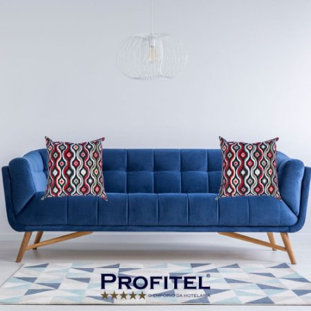 Almofada Estampada c/ Enchimento 45x45cm - Profitel Decor