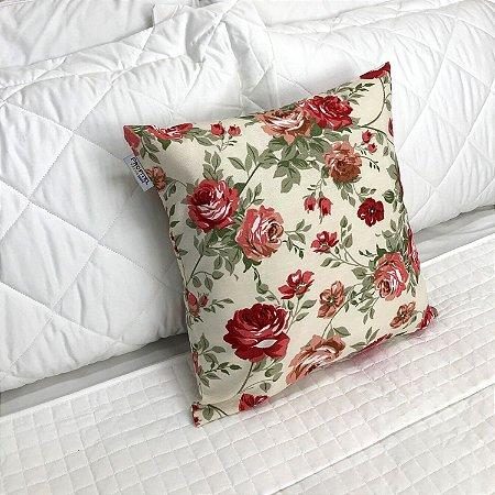 Almofada Estampada c/ Enchimento 45x45cm - Floral Vermelho - Profitel Decor