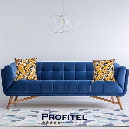 Almofada Estampada c/ Enchimento 45x45cm - Floral Amarelo - Profitel Decor
